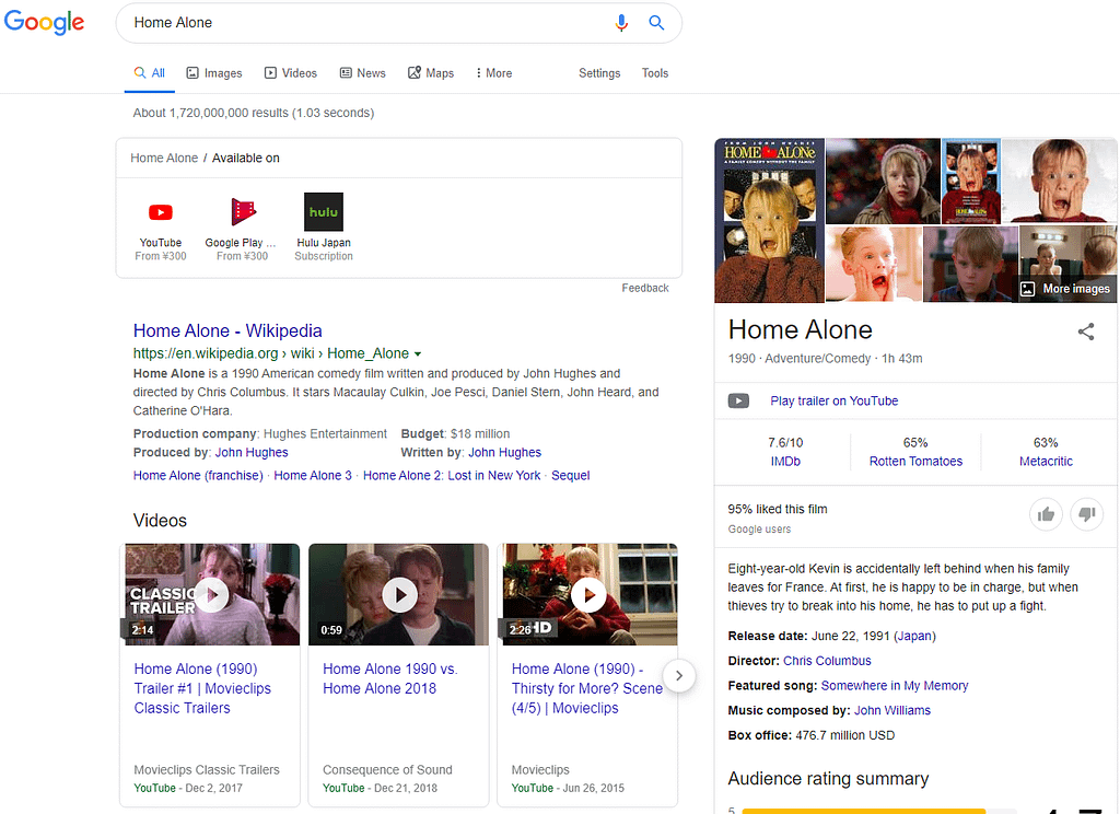 Screenshot of a search for Home Alone on Google