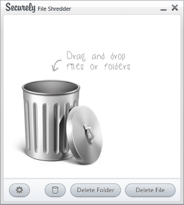 The main interface for Securely File Shredder.